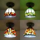 Domed Shade Ceiling Mount Light 1 Head Tiffany Traditional Glass Stone Flush Light for Corridor