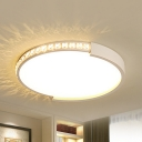 Round Living Room Ceiling Lamp with Crystal Acrylic Simple Style Stepless Dimming/Warm/White Flush Ceiling Light
