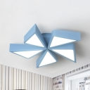Metal Toy Windmill Ceiling Fixture 5 Blades Cartoon Warm/White Flush Mount Light in Blue/Pink for Kids Bedroom