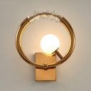 Metal Ring Wall Light with Globe Shade & Crystal 1 Head Modern Style Wall Lamp in Gold