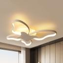 Pretty Butterfly Flush Mount Light Acrylic Black/White LED Ceiling Lamp in Warm/White for Kindergarten