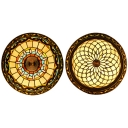 Foyer Corridor Baroque/Bead Ceiling Lamp Stained Glass 4 Heads Tiffany Antique Flushmount Light