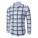 Mens Unique Cool Check Grid Printed Long Sleeve Slim Fitted Button Up Shirt