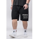 Popular Fashion Letter SPORTS 23 Printed Drawstring Waist Loose Fit Men's Black Athletic Shorts