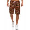Summer Fashion Africa Printed Drawstring Waist Brown Casual Loose Beach Shorts Swim Trunks