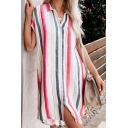 Summer Womens Trendy Vertical Striped Short Sleeve Button Down Casual Mini Shirt Dress
