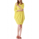 Womens Summer Holiday Simple Plain Round Neck Half Sleeve Button Front Plain Yellow Mini Lantern Dress
