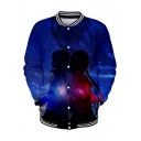 Trendy Blue Galaxy Comic Figure 3D Printed Rib Stand Collar Long Sleeve Zipper Front Baseball Jacket