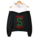 Hot Popular Fashion South Side Snake Logo Print Cold Shoulder Long Sleeve Pullover Hoodie