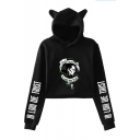 Popular Figure Letter IN LOKI WE TRUST Print Cat Ear Design Long Sleeve Cropped Hoodie