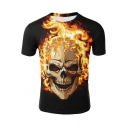 Summer Mens Cool Fire Skull 3D Printed Round Neck Short Sleeve Black Tee