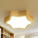 Wood Star LED Flush Mount Light Foyer Contemporary Beige Ceiling Light in Neutral/Warm/White