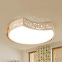Kindergarten Moon LED Ceiling Light Acrylic Wood Nordic Warm/White Flushmount Light in White Finish