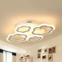 Cloud Child Bedroom Flush Mount Light Acrylic 4/6 Heads Modern Style LED Ceiling Lamp in Warm/White