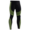 Fashion 3D Contrast Stripes Printed Quick Drying Breathable Skinny Gym Pants