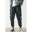 New Fashion Plain 4-pocket Styling Drawstring Waist Elastic Cuff Men's Casual Cotton Cargo Pants