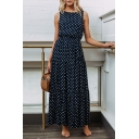 Summer Trendy Polka Dot Pattern Round Neck Sleeveless Maxi Tank Dress