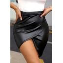 Womens Sexy Simple Plain Split Front Mini Black Asymmetrical Bodycon PU Skirt