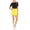 Trendy Yellow Simple Plain Button-Fly Mini Denim Skirt