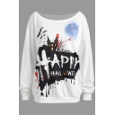 Happy Halloween Cartoon Printed Boat Neck Long Sleeve White Pullover Sweatshirt