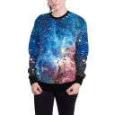 New Trendy Blue Galaxy 3D Printing Crewneck Long Sleeve Relaxed Sweatshirt