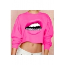 Sexy Red Lip 3D Printed Crewneck Long Sleeve Rose Red Cropped Sweatshirt