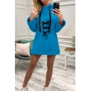 Womens Hot Trendy Simple Solid Color Lace-Up Front Long Sleeve Longline Hoodie