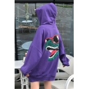 Funny Cartoon Dinosaur Printed Long Sleeve Street Fashion Oversized Hoodie