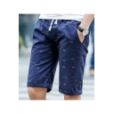 Men's Fashion Sardine All-over Printed Drawstring Waist Casual Shorts