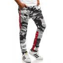 Men's Fashion Camouflage Pattern Contrast Letter Tape Patched Casual Sports Sweatpants
