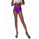 Womens Cool Laser Metallic Color Night Club Dance Skinny Hot Pants Shorts