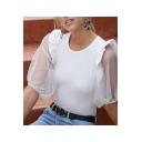 Summer Hot Popular Ruffled Mesh Panel Puff Sleeve Round Neck White T-Shirt