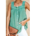 Summer Womens Plain Vintage Square Neck Sleeveless Button Down Casual Tank Top