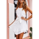 Womens Trendy Halter Neck Open Back Ruffled Hem Tied Waist Mini Plain A-Line Dress