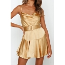 Summer Hot Popular Sexy Silk Plain Cutout Back Mini A-Line Cami Dress
