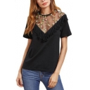 Womens Sexy Black Floral Embroidery Mesh Panel Ruffled Hem Round Neck Short Sleeve T-Shirt