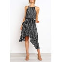 Summer Trendy Classic Polka Dot Printed Sleeveless Bow-Tied Waist Asymmetrical Cami Dress