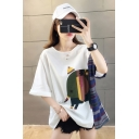 New Fashion Striped Elephant Printed Round Neck Oversized White Tee