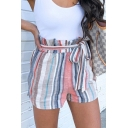 Summer Womens Hot Popular Vertical Striped Bow-Tied Waist Casual Paperbag Shorts