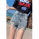 Girls Summer Fashion Destroyed Ripped Fitted Denim Shorts