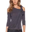 Womens Unique Knotted Cold Shoulder Long Sleeve Plain Asymmetrical T-Shirt