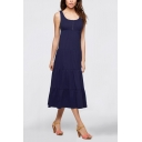 Womens Fashion Plain Scoop Neck Sleeveless Maxi Swing Tank Dress