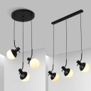 White Glass Tilt Globe Shade Hanging Lamp Modern Simple 3-Light Suspension in Black