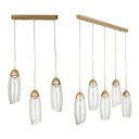 3/5 Lights Ellipse Hanging Pendant Lamp Post Modern Clear Glass Shade Drop Light in Gold Finish
