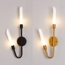 Frosted Glass Tube Shade Wall Lamp Modern 2-Light Black/Gold Sconces for Bedroom Hallway