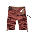 Men's Summer New Fashion Solid Color Flap Pocket Side Ribbon Embellished Zip-fly Cotton Cargo Shorts