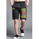 Men's Summer New Fashion Diagonal Stripes Floral Printed Flap Pocket Drawstring Waist Black Casual Shorts