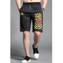 Men's Summer New Fashion Diagonal Stripes Floral Printed Flap Pocket Drawstring Waist Black Casual Shorts