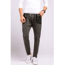 Men's New Fashion Simple Plain Drawstring Waist Slim Fit Sports Sweatpants