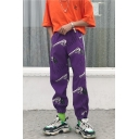 Unisex Trendy Gun Printed Reflective Tape Side Hip Pop Loose Track Pants